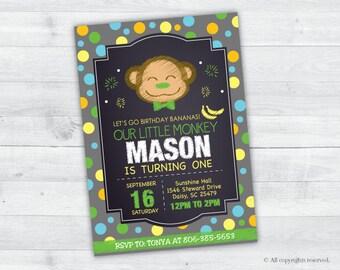 Jungle Monkey Birthday Invitation (green and grey)
