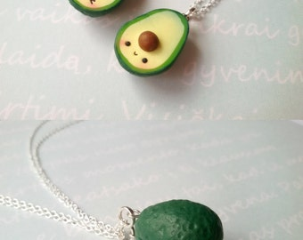 Best Friend Kawaii Avocado Necklace, vegan jewelry, avocado jewelry, miniature food jewelry, best friend, kawaii charms, friendship necklace