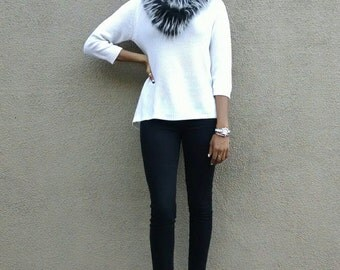 Black and White Fur Infinity Scarf