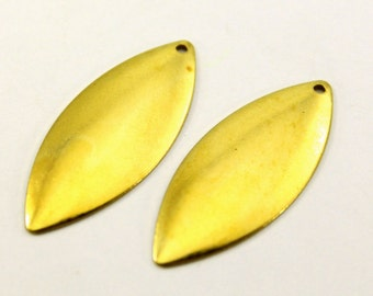20 pcs 14x35 Raw Brass Marquise, One Hole  Original Color