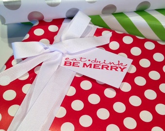 Christmas Gift Tags/Party Favor/Wine Tag/Eat Drink Be Merry  - Red and White - Set of 6