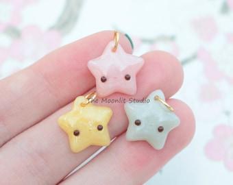 Kawaii Pastel Gemstone Star Charm, Polymer Clay Miniature, Handmade