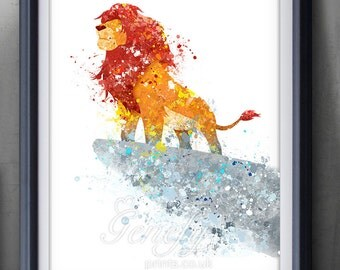 Disney Lion King Watercolor Poster Print - Wall Decor - Watercolor Painting - Watercolor Art - Kids Decor- Nursery Decor