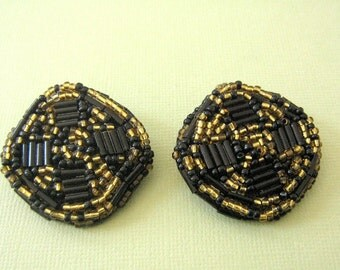 Black and Gold Seed Bead Clip Earrings