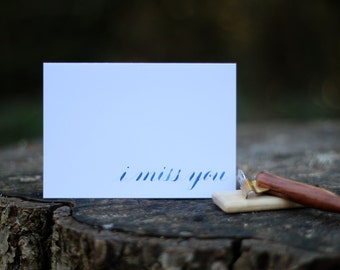 Notecard Set of 3 - Original Calligraphy - i like you, i love you, i miss you - blue or green