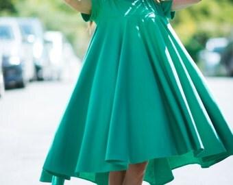 Trendy Summer dress, Unique women dress, Green Maxi Dress, Plus size Green Cotton Dress, Party Maxi Dress by EUGfashion - DR0238PM