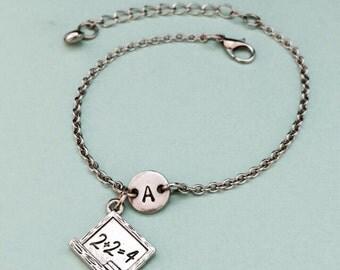 Chalkboard charm bracelet, chalkboard charm, adjustable bracelet, school, personalized bracelet, initial bracelet, monogram