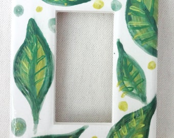 Leaves and Dots Ceramic Rocker Switch (or Outlet) Cover