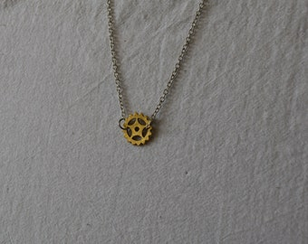 Steampunk gear necklace / pendant - gold tone gear pendant with silver chain