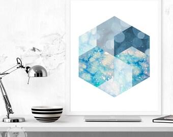 Abstract Hexagon, Digital Download Print - Geometric Hexagon Print Watercolor Print Bokeh Galaxy Minimalist Art Printable Art Modern Art
