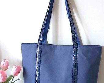 Tote bag Royal Blue, in cloth, glitter, blue sequins