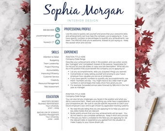 Creative Resume Template | Resume For Word And Pages | 1, 2 U0026 3 Page  Interior Design Resume Templates
