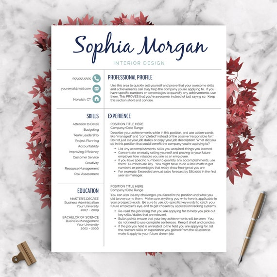 creative resume template word pages page icon set cover letter instant download templates