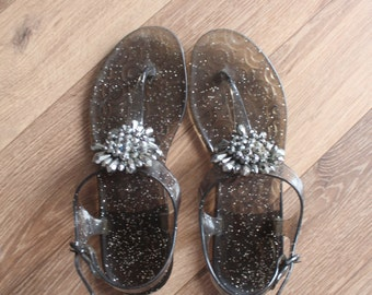 VTG COACH Jelly Flat Sandals With Crystals Flower