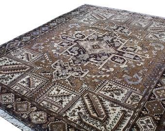 vintage persian heriz area rug geometric hand knotted oriental brown area rug 8x10