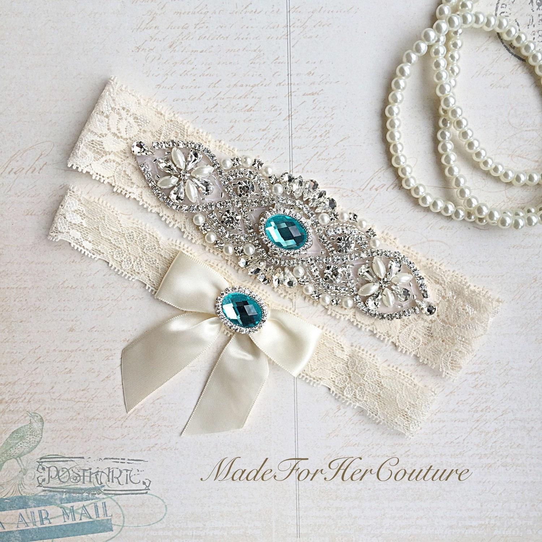 Blue Wedding Garter Bridal Garter Set Stretch Lace Garter