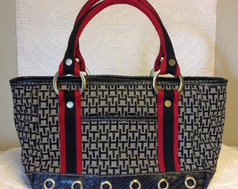 Vintage TH/handbag Tommy HILFIGER 1980s-1990s Navy/red/white