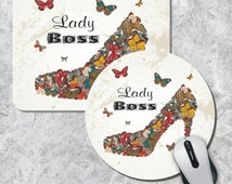 Quote Mousepad, Lady Boss Mouse Pad, High Heel Shoe Mouse Pad, Watercolor Mouse Mat, Butterfly Mousepad,  Round Mousepad, Custom Mousepad