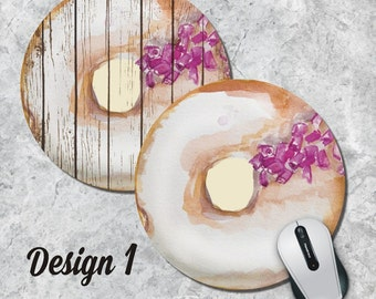 Donut Mousepad, Doughnut Mouse Pad, Watercolor Mouse Mat, Round Mouse Pad, Funny Mousepad,  Food Mouse Pad, Office Decor, Desk Accessory