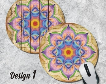 Chakra Mandala Mousepad, Spiritual Mouse Pad, Geometric Mouse Pad, Vintage Mousepad, Round Pad, Office Decor, Desk Accessorry, Five Designs