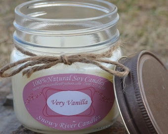 Pure Vanilla Candle | Soy Mason Jar Candle | Handmade Scented Soy Candle | Gift