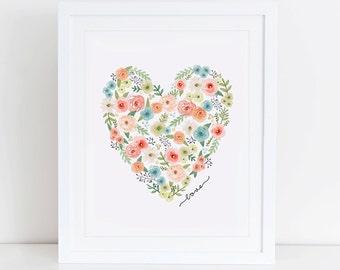 Heart Floral Art Print, Love Heart, Instant Download, Printable Home Decor, Digital Art Print, Love Floral Printable, Valentines Gift