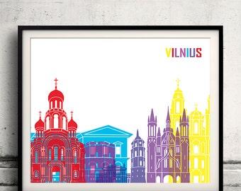 Vilnius pop art skyline 8x10 in. to 12x16 in. Fine Art Print Glicee Poster Gift Illustration Pop Art Colorful Landmarks - SKU 1159