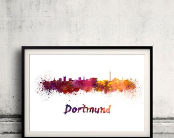 Dortmund skyline in watercolor over white background with name of city - Poster Wall art Illustration Print - SKU 1466