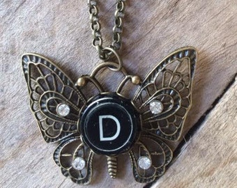 Typewriter Key Necklace , Butterfly with Crystals