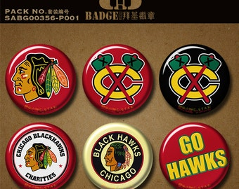 "NHL Chicago Blackhawks button pins magnets Pro National Ice Hockey Team Sports Memorabilia Christmas gift 1.5""/37mm magnetic badges keychain"