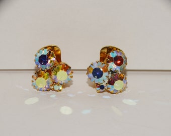 Vintage Aurora Burealis Iridescent Stones Small Earrings.