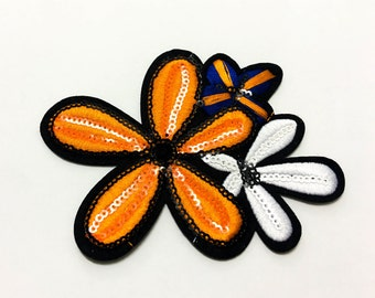 Flower Sequin Iron on Patch(L) - Sequin Flower Glitter Applique Iron on Patch - Size 12.0x8.6 cm