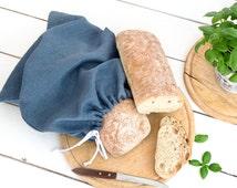 Blue Natural Linen Bread Bag