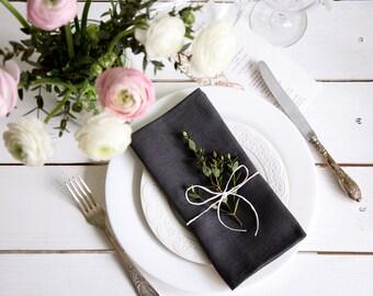 Dark gray Linen napkins - Set of 6 Natural linen napkins - Linen wedding table serving napkins 18.5'' x 18.5''