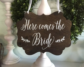 Here comes the Bride sign - Here comes the bride - Here comes your bride - Rustic wedding sign - Wood wedding sign - ring bearer sign