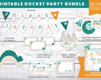 Space Birthday Party Bundle - Printable Outer Space / Rocket Party Kit