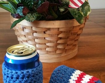 Red, white, and blue can cozy, can wrap, can cuff