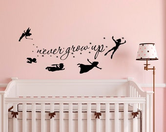 Peter Pan Wall Decal Quote Never Grow Up Children Flying Silhouette Fantasy Fairytale Wall Decals Nursery Bedroom Baby Kids Playroom Q036