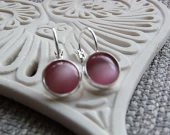 Pink Cats Eye Leverback Earrings