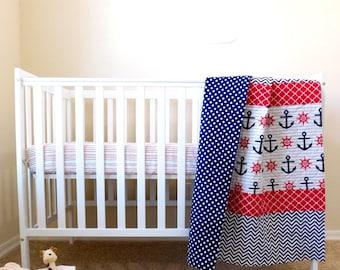 Nautical baby quilt, Nautical nursery, Nautical baby bedding, nautical baby gift, nautical quilt, Nautical crib Quilt.