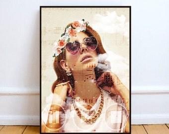 "Lana Del Rey print, sheet music art print, surreal print art, portrait poster, Lana pop art print, mixed media collage art - ""Holy Lana""."