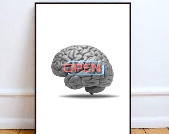 "Brain poster, surreal art print, human brain art, minimalist art print, collage print art, home decor wall art, brain decor - ""Open mind""."