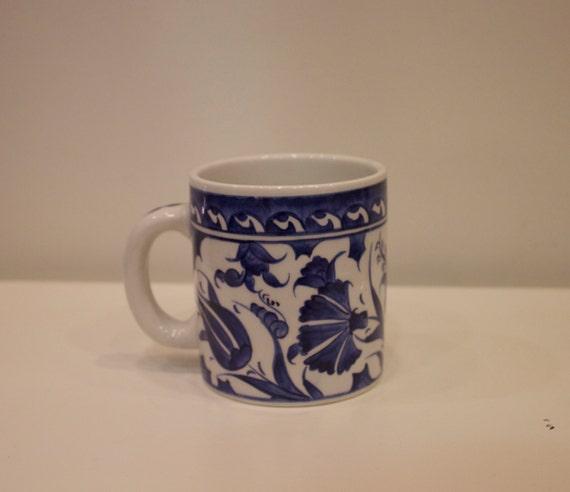 Blue and White Floral Coffee Mug, Handmade Mug, Hand Painted Coffee Tea Mug, Custom Design, Personalized Ceramics, Tulip Design, Carnations