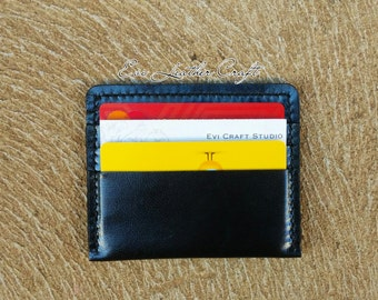 personalised Black Leather mens credit card holder, Flat Wallet, Hand stitched leather wallet, card wallet, card pouch, black wallet, gift