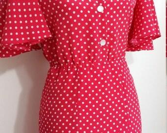 Polka dot dress, M, pink dress, flutter sleeve dress, flirty dress, summer dress, pin up dress, pink 40's dress