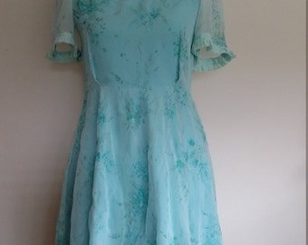 Blue floral dress, XS, S, blue 70's dress,  XS, S, lace dress, taffeta dress, turquoise dress, chiffon dress