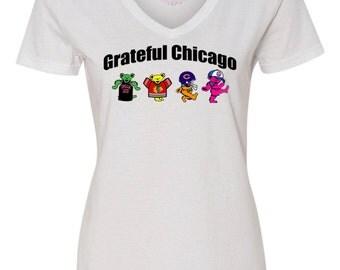 Cubs Bulls Blackhawks Bears, Grateful Dead Ladies Tee, Grateful Dead Dancing Bears Shirt, Chicago Sports, Chicago Grateful Dead Shirt