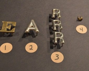 Vintage Solid Brass Harness Letters -  E. A, R, and Apostrophe