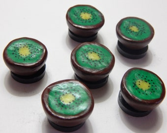 Set of 6: Green Kiwi Fruit Magnets Handmade from Polymer Clay
