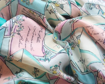 French Love Letters Silk Scarf. Adapted from vintage pattern. Quotes by Rousseau, Edith Piaf, Balzac etc. Scarf with quotes.